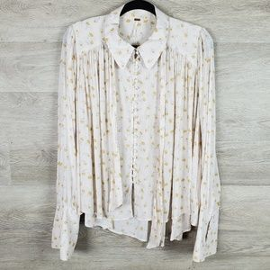 Free People Floral button up Blouse Size M